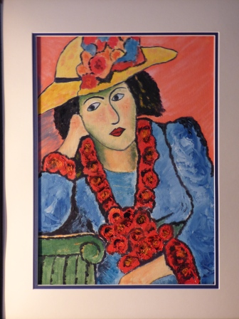 Lady in Straw Hat, Oil on canvas, After Jawlensky